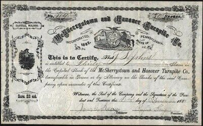 Mc Sherr5Ystown And Hanover Turnpike Co Of Pa, 1889 Uncancelled Stock Cft.