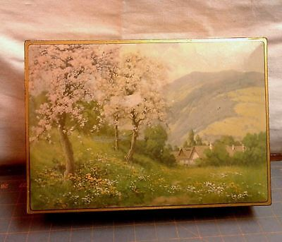 National Biscuit Company Tin Pastural Mountain Scene NBC Vintage