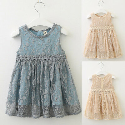 Toddler Kids Baby Girls Cloth Lace Tulle Party Wedding Vest Skirt Princess Dress