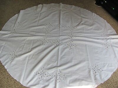 Embroidered Applique Lace Cutout White Round Cotton Tablecloth Table Cloth