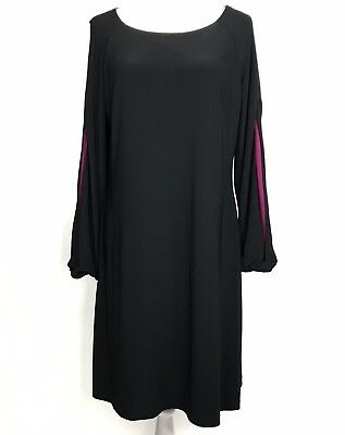 1a4f865eef Tommy Hilfiger - Size 12 - Womens Black Knee Length Dress With Maroon  Sleeves