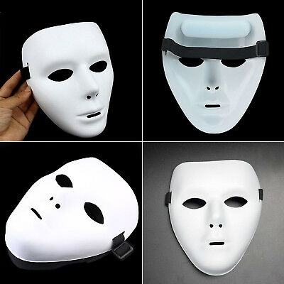 White Face Plastic Plain Mask Cosplay Ghost Unisex Halloween Masquerade Props AU