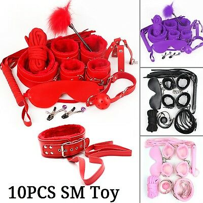 Adult Sex SM Toys 10Pcs/set Handcuffs Strap Whip Rope Restraints System Kit Sexy