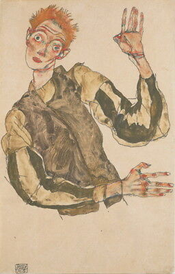 Self-Portrait in a black robe by Egon Schiele Giclee Print Repro on Canvas