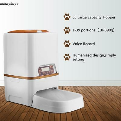 Automatic Pet Feeder Dog Cat Food Bowl Time Auto Dispenser W/ Screen Record US