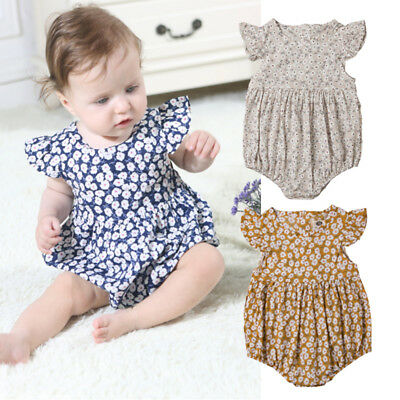 Newborn Baby Girls Flowers Romper Jumpsuit Bodysuit Outfits Clothes Sunsuit AU