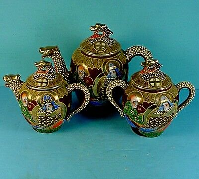 Vintage Japanese Moriage Satsuma Style High-End Dragonware Porcelain Tea Set