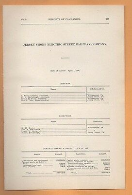 1906 train report JERSEY SHORE ELECTRIC RAILWAY Pennsylvania PA trolley rare RR