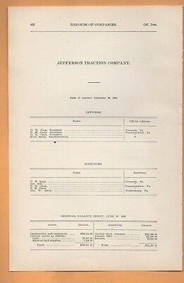 1906 train report JEFFERSON TRACTION COMPANY Punxsutawney PA cable car trolley