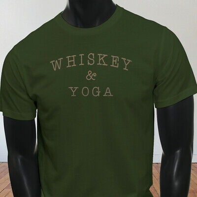 0167a5a284 WHISKEY & YOGA Funny Humor College Party Drinking Zen Mens Off White ...