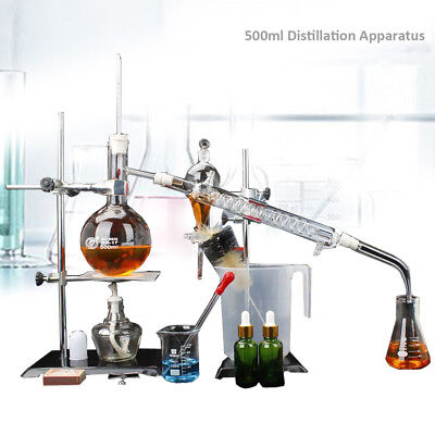500ml Lab Essential Oil Distillation Apparatus Pure Water Glassware Set w/case