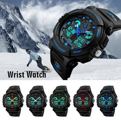 Men Army Military Quartz Analog Digital Watch Sports Alarm Dual LED Wrist Watch