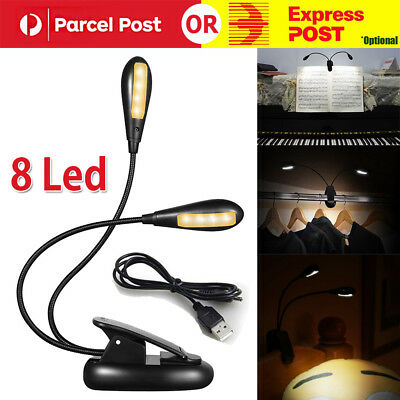 8 LED Eye Care USB Stand Light Clip On Bed Music Reading Book Lamp