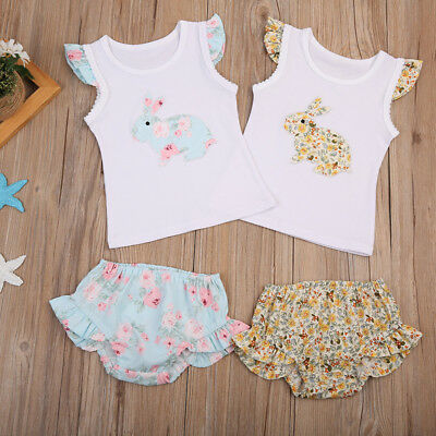 Toddler Infant Kids Baby Girl Easter Cartoon T-Shirt Tops Shorts Outfits Clothes