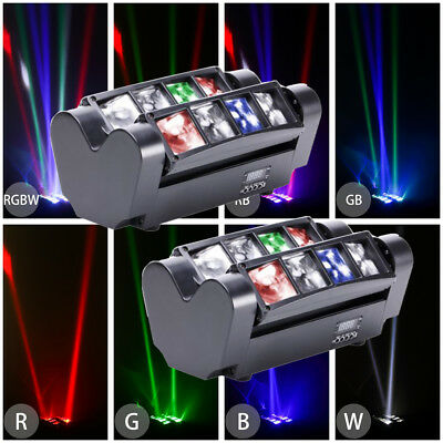 2x RGBW Spider Moving Head Light DMX512 Sound Activated LED Stage Beam Lightings