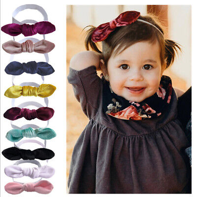 Lovely baby toddler kids girl solid large bow headband hair band headwear PB