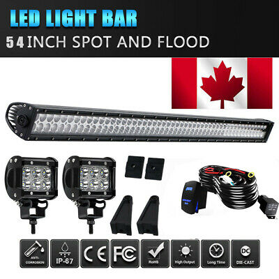 52inch 300W LED Light Bar Work SPOT FLOOD Combo Beam+ 4inch Cree Pods+Wiring Kit