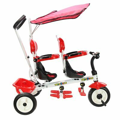 4 in 1 Twins Kids Trike Baby Toddler Tricycle Safety Double Rotatable Seat w/Bas