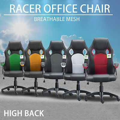 Racing Office Chair Sport Executive Computer Gaming Deluxe PU Leather Extra Mesh