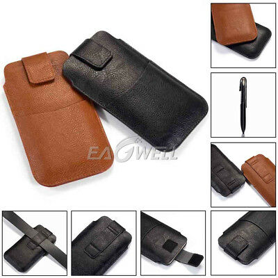 Universal Leather Phone Waist Bag Clip Belt Loop Holster Wallet Pouch Case Cover