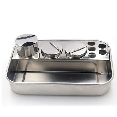 2set Dental Stainless Steel Storage Box Lab Instrument Dental Tray With 3Bottles