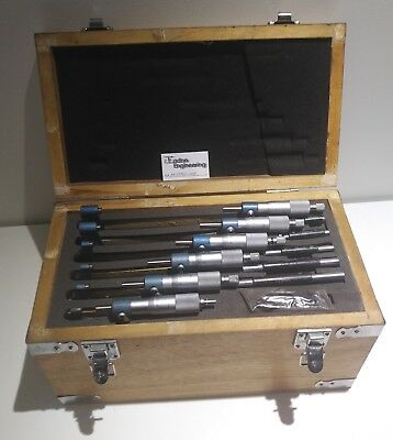 0 - 150mm Micrometer set, 6 pieces. In wooden box.