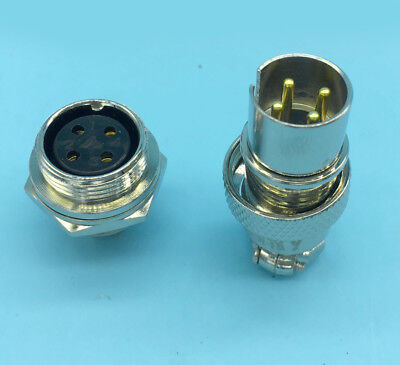 10 Pair Reverse Aviation Plug 4 Pins Gold plated pin Panel Connector 16mm GX16-4