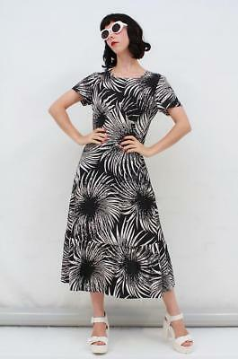 Vintage 70s Retro Black White ABSTRACT FLORAL PRINT Midi SUMMER Dress AUS 10 S