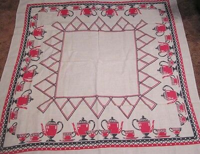 Vintage Tablecloth with Red Black Coffeepots Cups & Saucers and Abstracts 1940s