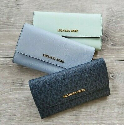 274638c405f3 NWT Michael Kors Jet Set Travel Large Trifold Leather   PVC Signature Wallet