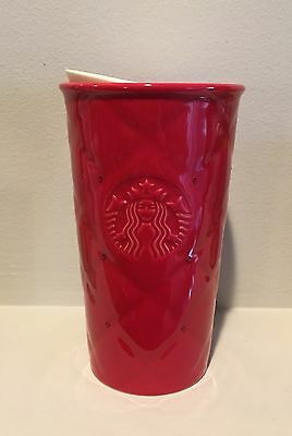 New Starbucks Double Wall Holiday Tumbler Mug Red Quilted w/Swarovski Crystals
