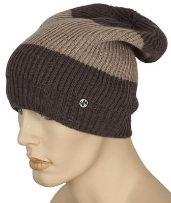 bf56062e470 New Gucci Beige Brown Welmor Web Wool Interlocking Logo Beanie Hat One Size