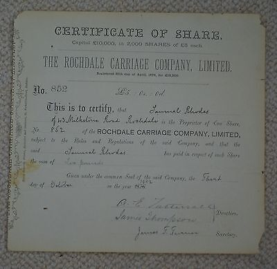 1902 share certificate for the Rochdale Carriage Company Ltd, scarce