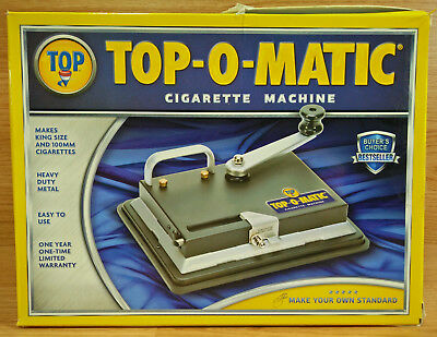 Top-O-Matic Cigarette Machine Tobacco Rolling Injector Hand Lever Kings 100mm