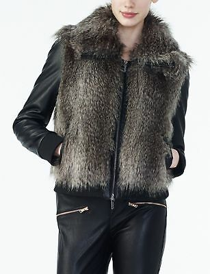 Armani Exchange Womens Faux Fur Layered Look Jacket NWT$275 Size Medium Black