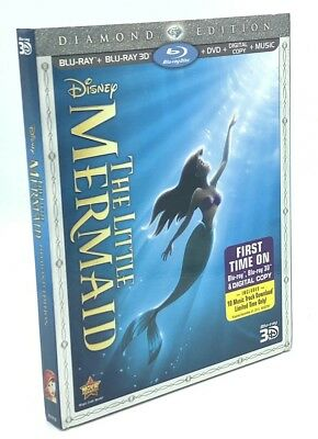 Little Mermaid 3D, The (Blu-ray 3D+Blu-ray+DVD+Digital, 2013) NEW w/ Slipcover