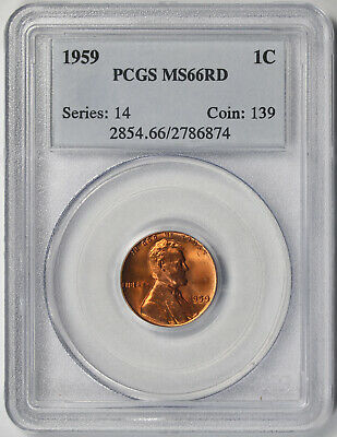 1959 Lincoln Memorial Penny 1C MS 66 RD RED PCGS
