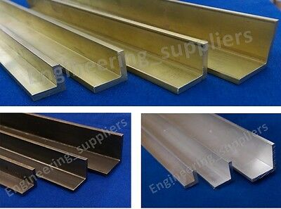 "Aluminium Brass & Mild Steel Equal L Angle 1/2"", 5/8"", 3/4"" & 1"" Various Length"