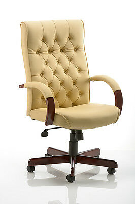 Chesterfield Tradional Leather Faced Antique Style Repro Executive Office Chair