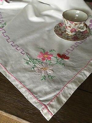 Vintage Mid Century Handmade Floral Embroidered Tablecloth
