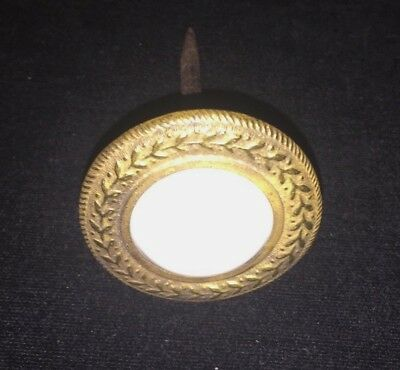Rare Large Antique Picture Nail / Door Stop - White Marble And Brass