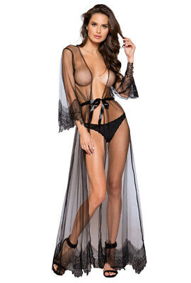 Roma black long sheer maxi robe