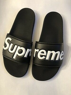6080879b78c1 SUPREME BLACK N White Slides size 10