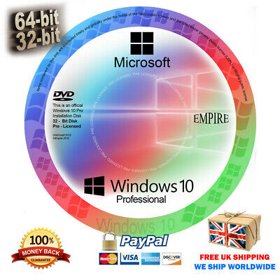 Windows 10 Pro 32/64Bit Installation Disc + GENUINE License Product Key (DVD/CD)