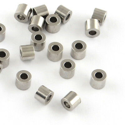 500pcs 304 Stainless Steel Beads Smooth Column Bead Spacers 2x3mm Hole 1.5mm