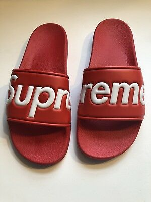f6c79d582afc SUPREME RED N White Slides size 10