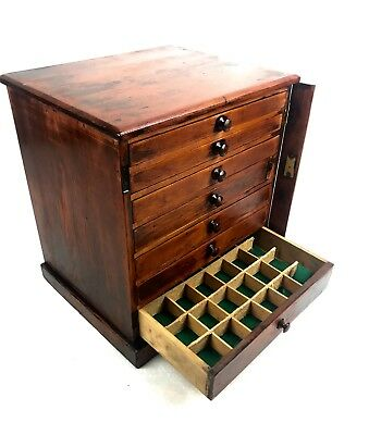 Antique Wooden Wellington Collectors Chest Of Drawers / Cabinet / Coins Box