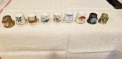 Lot of 9 Collectible Thimbles TN,OH,CO,Miss,AK,PikesPeak,St. Louis,NM,North Pole