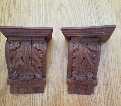 Antique Corbells Carved Wood Acanthus leaf Capitals SALVAGE items