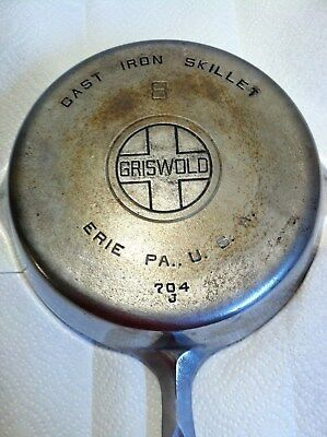 Griswold # 8 Chromed Cast Iron Skillet - Pre 1940 Vintage